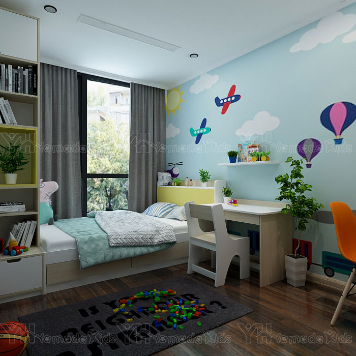 Phòng ngủ giường đơn cho bé trai