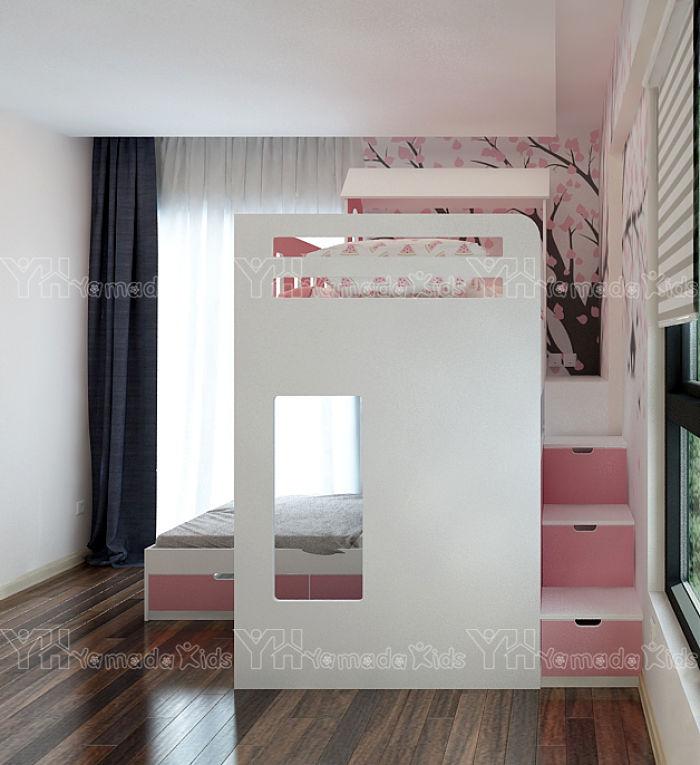 Bộ phòng ngủ giường tầng màu hồng cho bé gái