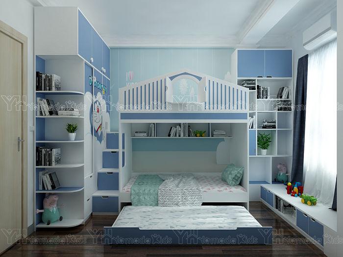 Thi công bộ phòng giường tầng Doremon cho bé trai